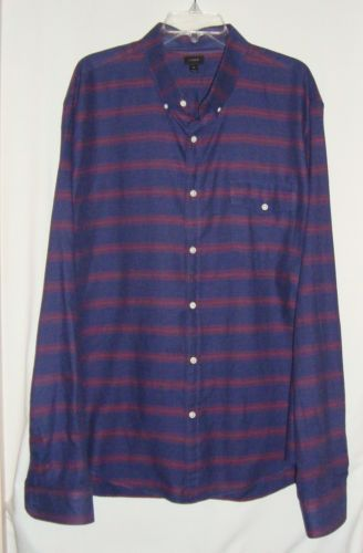 NEW-w-o-Tags-J-CREW-Cotton-Flannel-Striped-Long-Sleeve-Mens-Shirt-Size-XXL