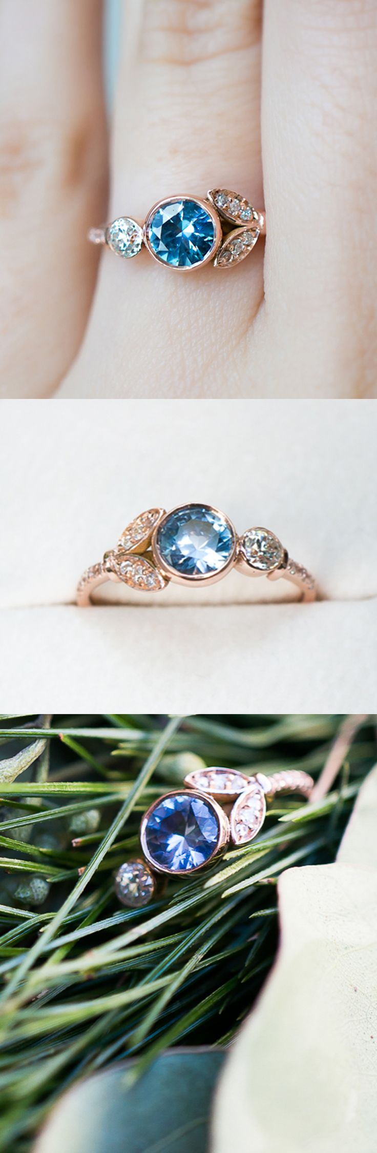 Inspired by antique flower rings and set with an ethically sourced Sapphire from Montana, USA, and a reclaimed antique diamond. By S. Kind & Co.
