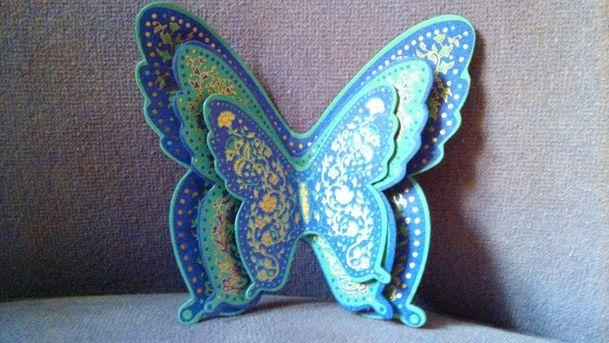 Mauve Aqua Butterfly Trio
