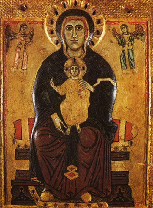 «Madonna degli occhi Grossi» Maestro di Tressa (Museo dell'Opera della Metrapolitana, Siena), начало 13 века.