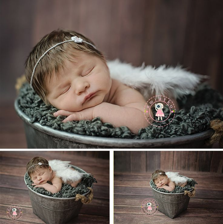 Fotografia noworodkowa Gdańsk, Trójmiasto, Dziewczynka w koszyku, wiaderku, zdjęcie małego dziecka,