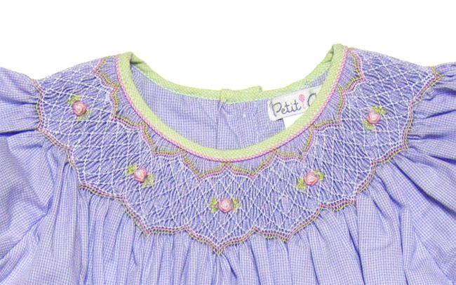 Petit Ami Girls Pretty Lavender Micro Check Smocked Easter Dress.  Note, color combo