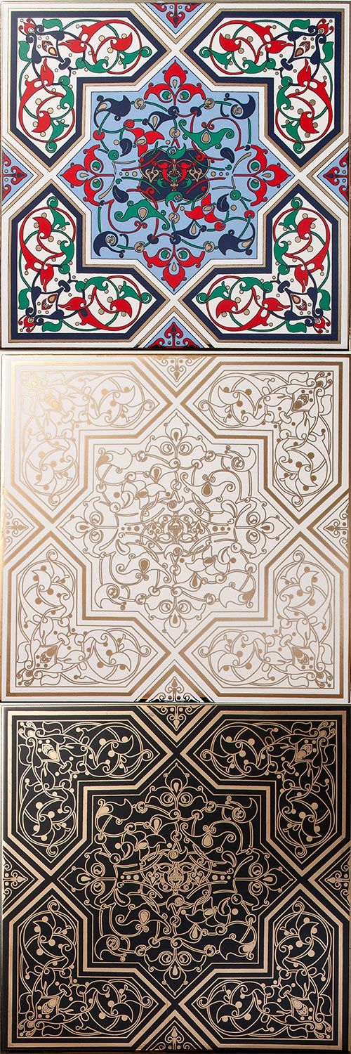 """These Arabesque Jamiliah Tiles take on an ornamental design style using interweaving floral motifs inspired by nature, with rich colourways and liquid gold adornment for the ultimate luxury finish.  These stunning elegant tiles will add style and personality into any interior projects.  Jamiliah means """"Beautiful""""."""