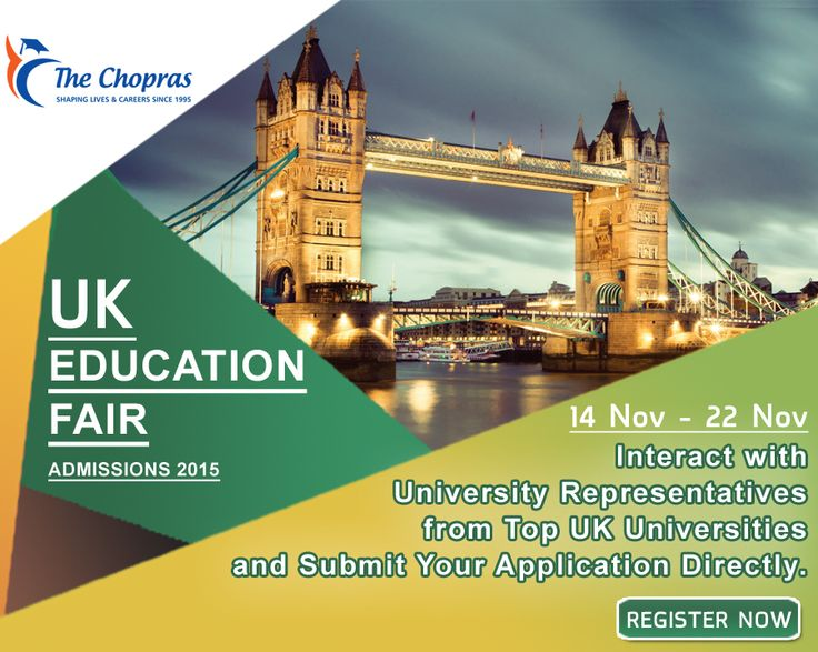 Get a chance to meet university delegates from Top #UK #Universities and submit Your Application Directly to the Universities. For more details register here: www.thechopras.com/uk-education-fair
