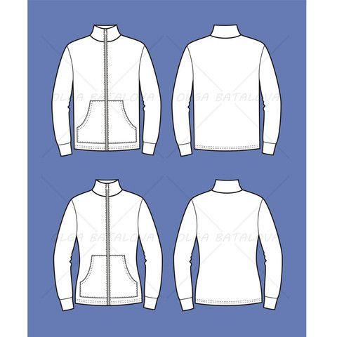 De Hombres chaqueta postal Plantilla plana manera de las mujeres y