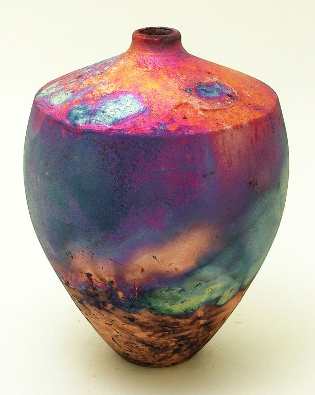 "Saatchi Online Artist: Chris Hawkins; Ceramic, 2012, Sculpture ""Thrown Raku bottle"" - love raku colors!"