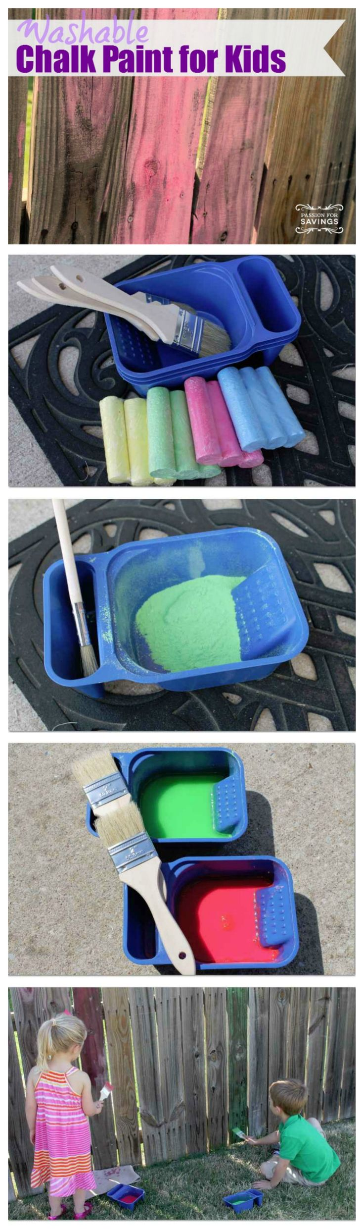 Washable chalk paint. Kids could make a masterpiece with our fence. Lol. Not sure how long Kane would stay interested...