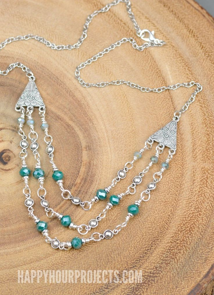 311 best 30 minute jewelry crafts images on pinterest jewelry triple strand crystal pewter diy necklace at happyhourprojects solutioingenieria Image collections