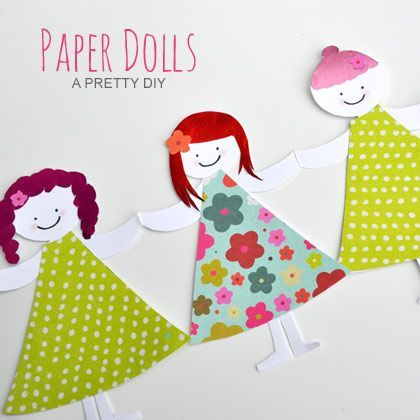 Herinner je je deze nog? Papieren poppetjes als slinger. Nog steeds leuk om te maken en aan te kleden bijvoorbeeld! | #slinger #kinderen #knutsel
