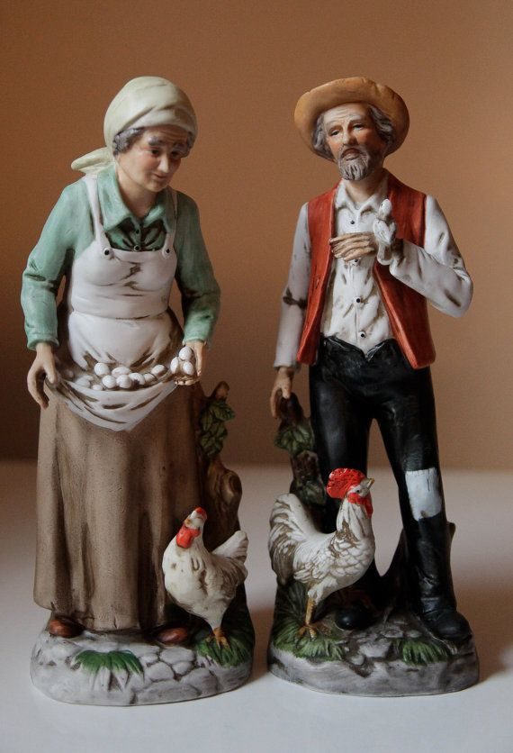 Older couple on the farm figurines by Homco   The farm ...