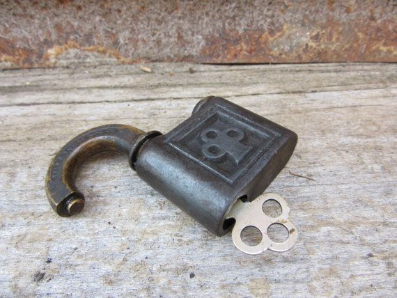 Antique Pad Lock YALE Victorian Lock Push by TheOldTimeJunkShop