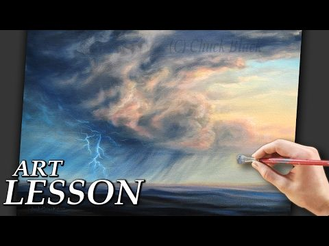Acrylic Painting Lesson | Storm Clouds and lightning - YouTube