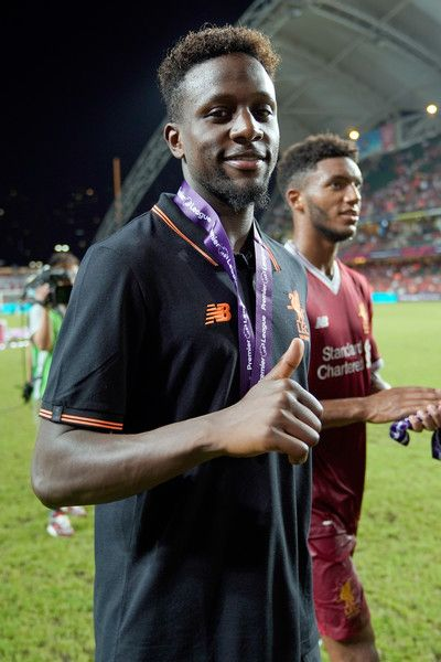Divock Origi of Liverpool celebrates after beating Leicester City 2-1 in the final during the Premier League Asia Trophy match between Liverpool FC and Leicester City FC at Hong Kong Stadium on July 22, 2017 in Hong Kong, Hong Kong.