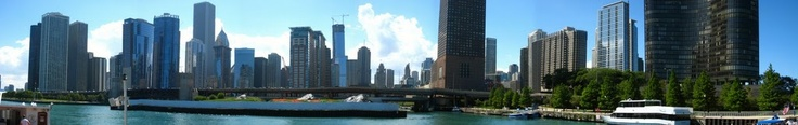 Chicago skyline from the river (using stitching app on camera) -- Photo by Sheila Young