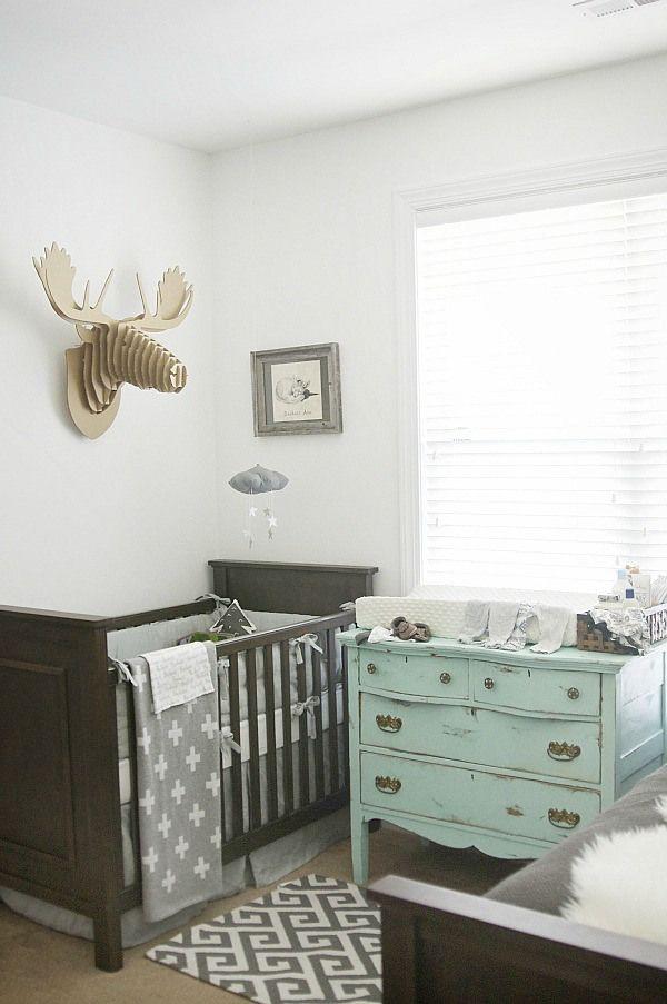 Lovely gray nursery - pottery barn crib, cardboard moose, cross blanket, & other amazing details!
