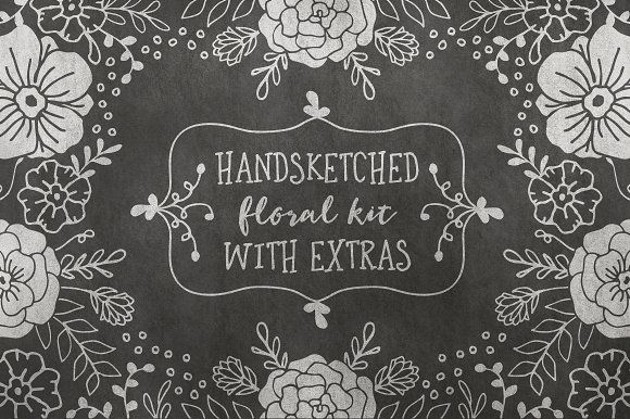 Hand Sketched Floral Kit + EXTRAS! by Pink Coffie on @creativemarket