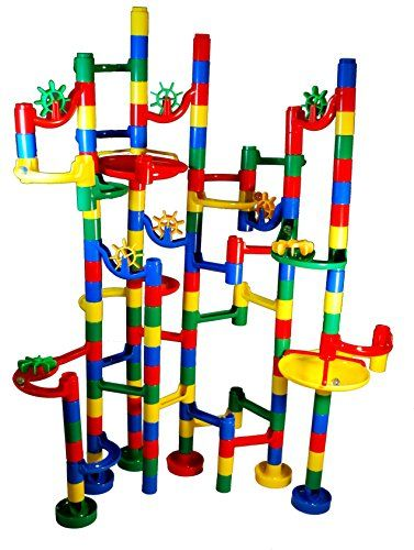 Marble Run is a game that helps children learn about spatial relations and how things go.