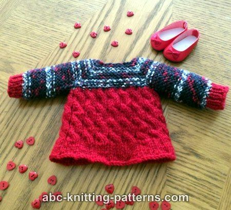 ABC Knitting Patterns - Cable Tunic for 14 inch dolls (Wellie Wishers and Hearts4Hearts)