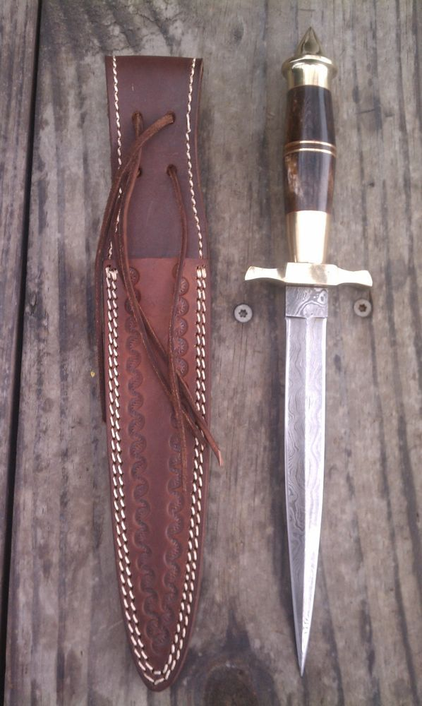 Alistar Damascus Dagger Hunting Knife with Genuine Leather Sheath #Alistar
