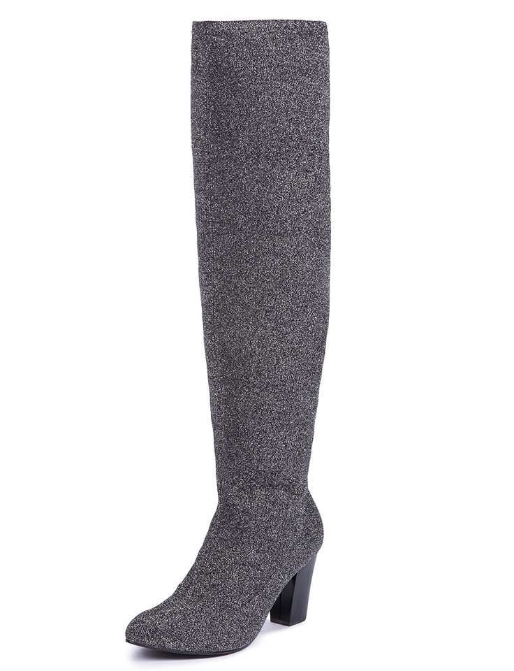 Zelinda Over the Knee High Heel Boot Glitter