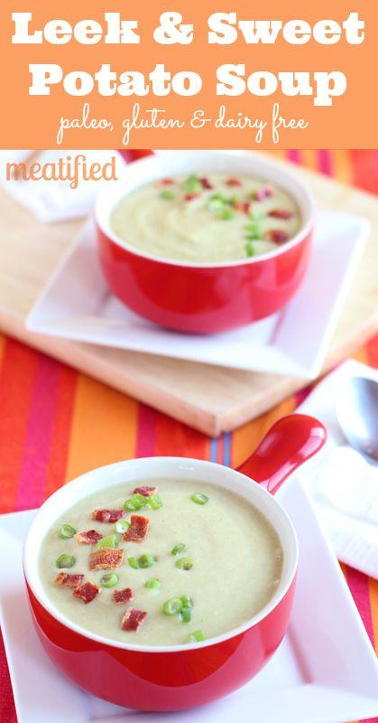Leek & Sweet Potato Soup. Leeks, sweet potatoes, coconut milk, thyme..
