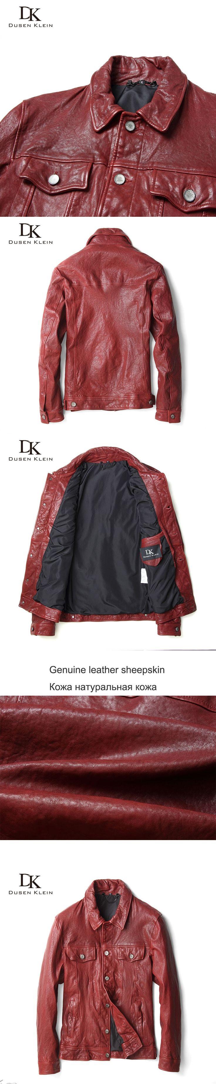 Male leather jacket motorcycle Dusen Klein Red leather jackets real sheepskin slim/Business Pocket leather brand coat 71U9196R