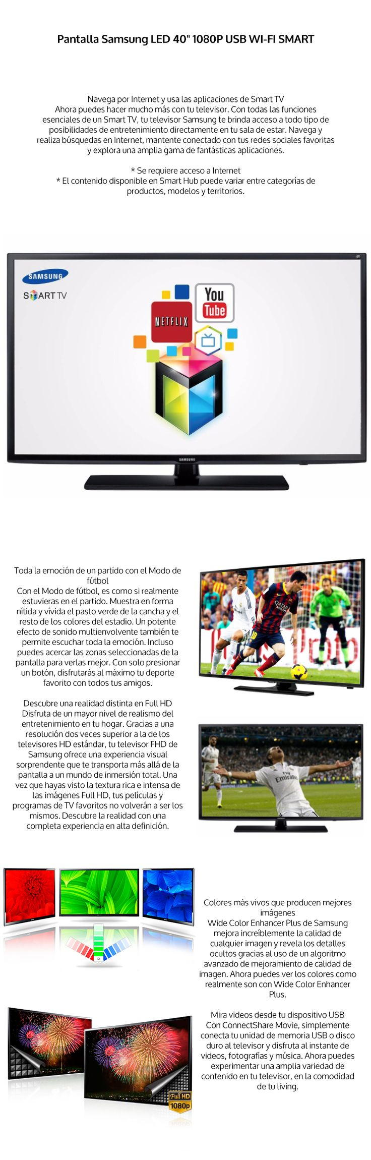 Pantalla Led Smart Tv Samsung 40 Pulgadas Full Hd Wifi Meses - $ 7,999.00