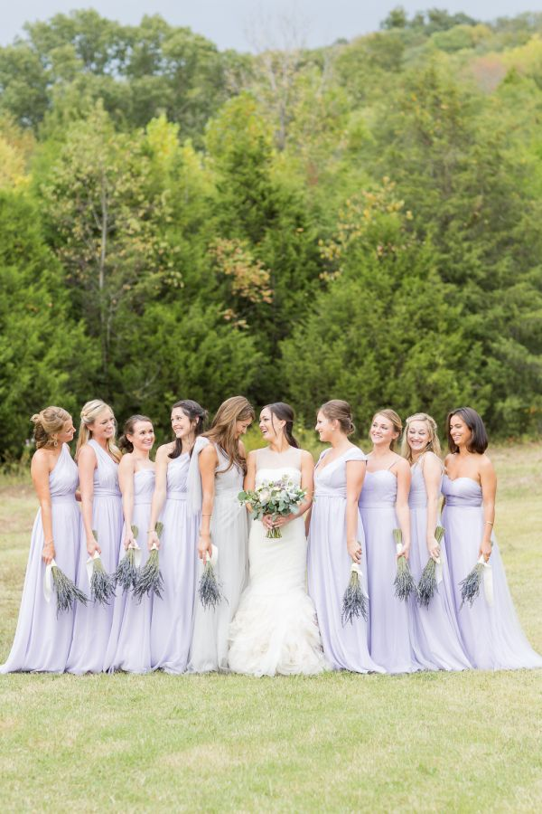 Lilac bridesmaid gowns: http://www.stylemepretty.com/tennessee-weddings/nashville/2016/01/14/rustic-elegant-fall-wedding-at-cedarwood/ | Photography: Kelsey Combe - http://kelseycombe.com/#!/HOME