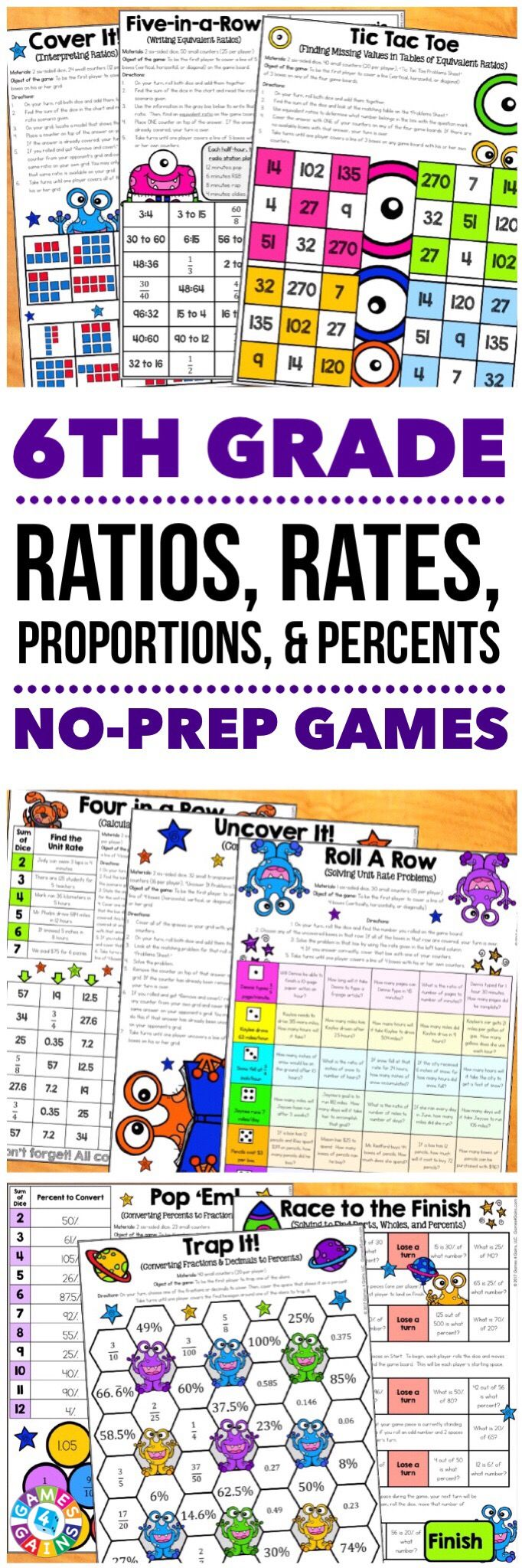 """Students are LOVING these games to reinforce standards."" This 6th Grade Ratios, Rates, Proportions, and Percents Games Pack includes 30 differentiated games for practicing using ratios, finding equivalent ratios, calculating rates, calculating percents and percents of a quantity, converting measurements, and much more!  These games support the 6th grade CCSS ratios and proportional relationships standards {6.RP.1, 2.RP.2, 2.RP.3}."