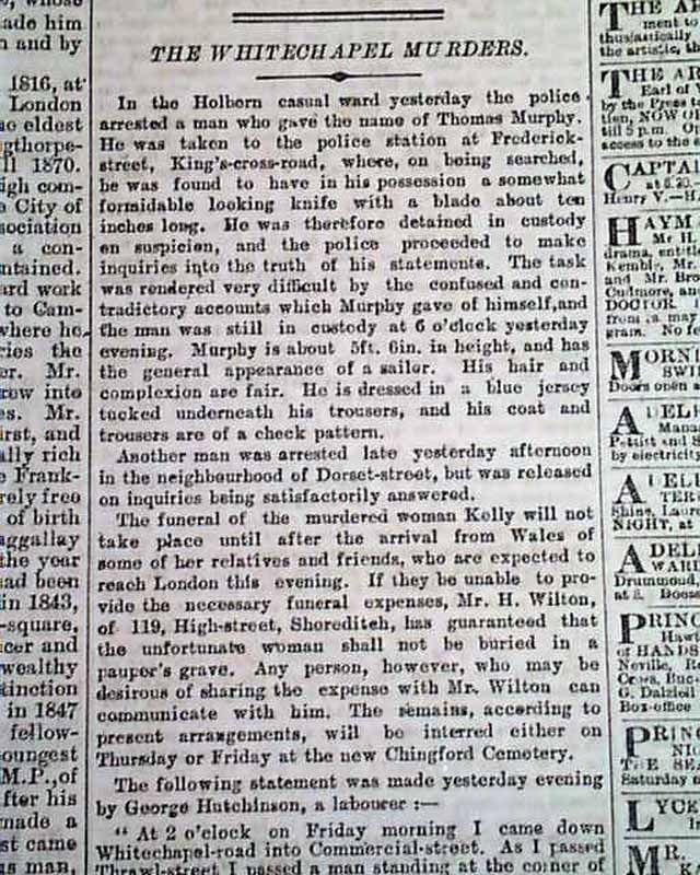 Details on Jack the Ripper and Mary Jane Kelly, by an eye-witness, THE TIMES, London, November 14, 1888...