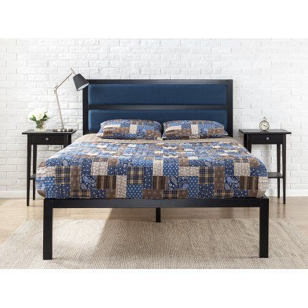 Zinus 16a Platform Bed With Tufted Navy Panel Headboard Blue