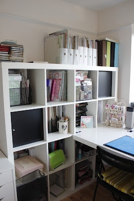 Ikea storage shelves with table for arts & crafts- plus room for more toys on the lower shelves