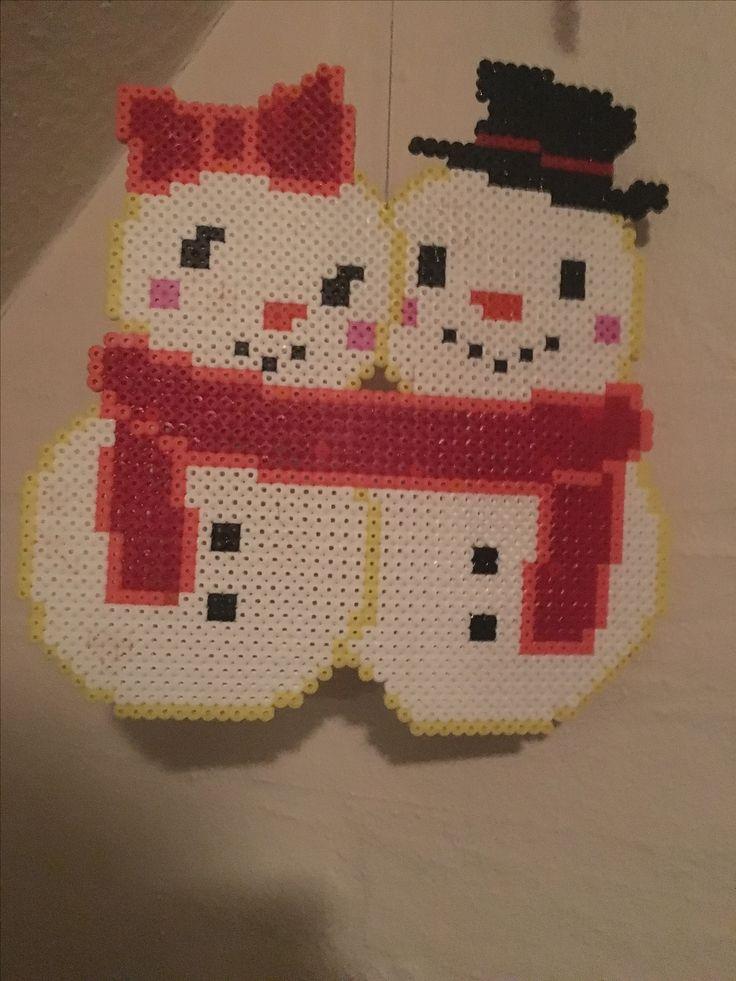 Snemand / snowman and girlfriend perler / Beads