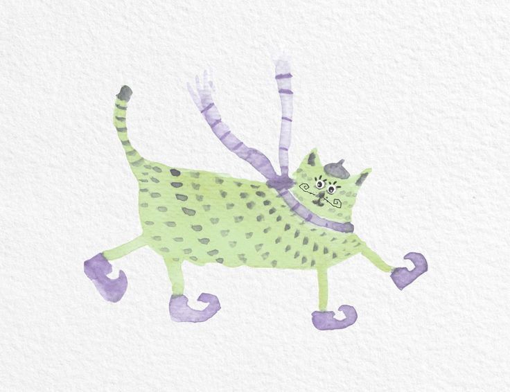 Jelena Matriszenka #watercolor #watercolorcat #watercolorart #art #artforkids #funnycat #funny