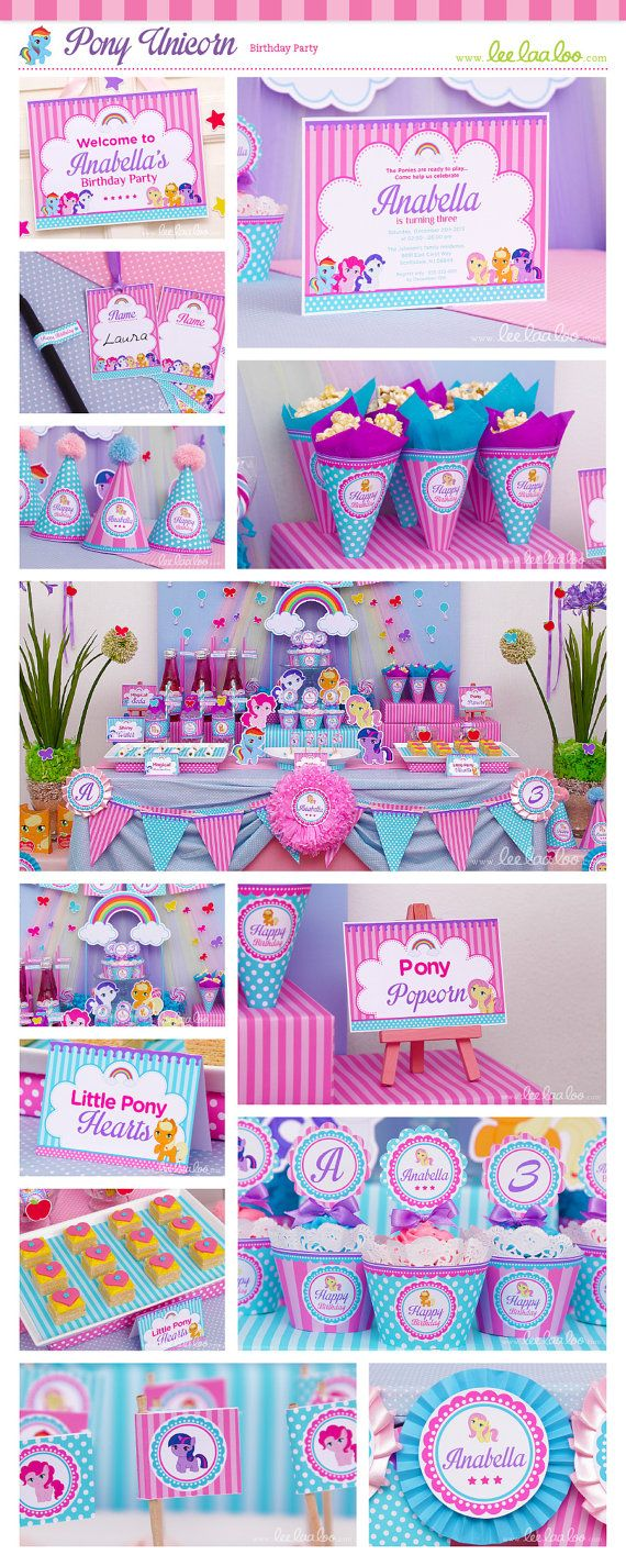 Pony Unicorn Birthday Party Package Collection by happyDIYparty #pink #unicorn #ponyunicorn #birthday #party #theme #happyDIYparty