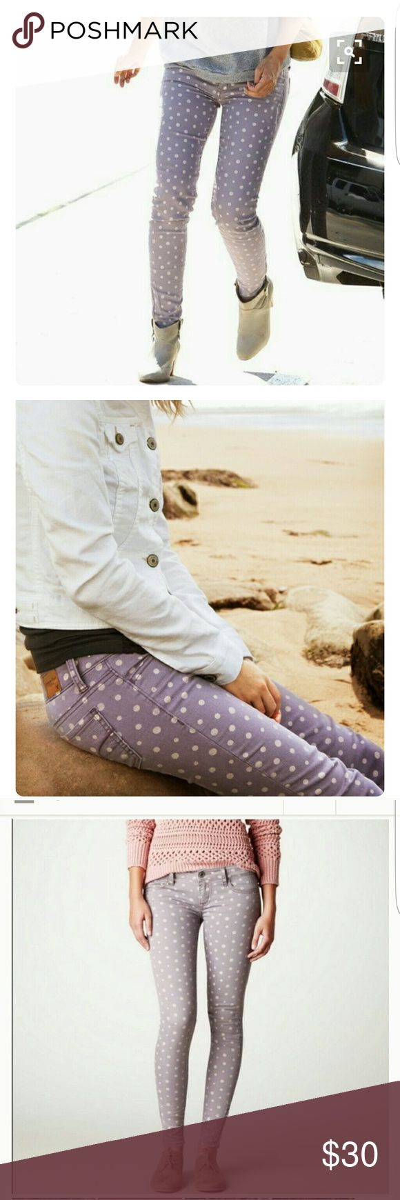 AE Outfitters || Polka Dot Jegging Ankle Stretch. Low rise. Super skinny leg. Purple polka dot. Ankle zip closure. 12 regular. 70% cotton. 29% polyester.  1% spandex.  Purchased to wear on Easter,  but I switched outfits. American Eagle Outfitters Jeans
