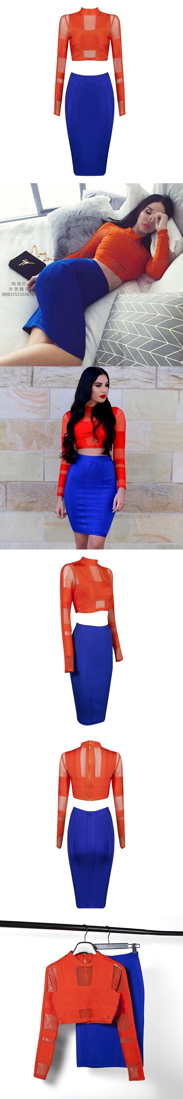 2017 spring orange blue bandage dress high quality long sleeve 2 two piece set dresses vestido formal de las mujeres