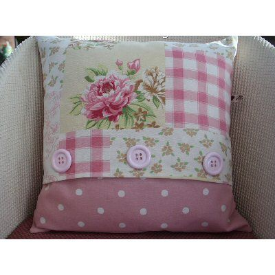 www.hastings-crystal.co.uk >> Home and Garden >> Decorative Home Accessories >> Cushions & Cushion Covers >> Patchwork Taupe and Rose Button Cushion