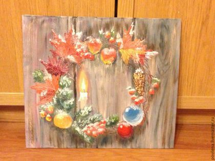 """Натюрморт ручной работы. Ярмарка Мастеров - ручная работа. Купить картина """"Рождественский венок"""". Handmade. Темно-серый, новогодний подарок"""