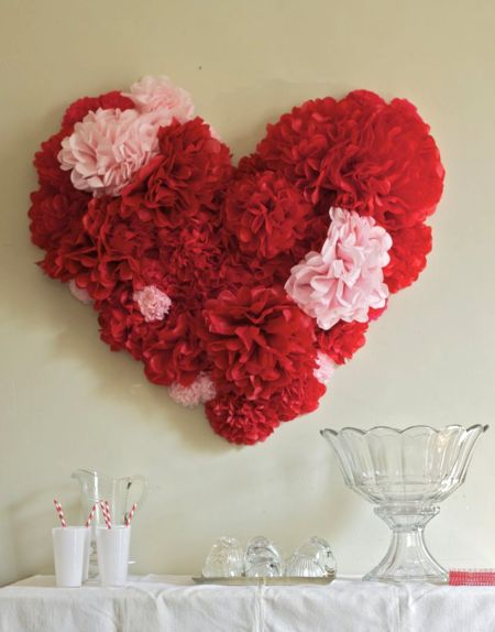 This gorgeous tissue paper flower heart is a great statement piece for any valentine's themed party