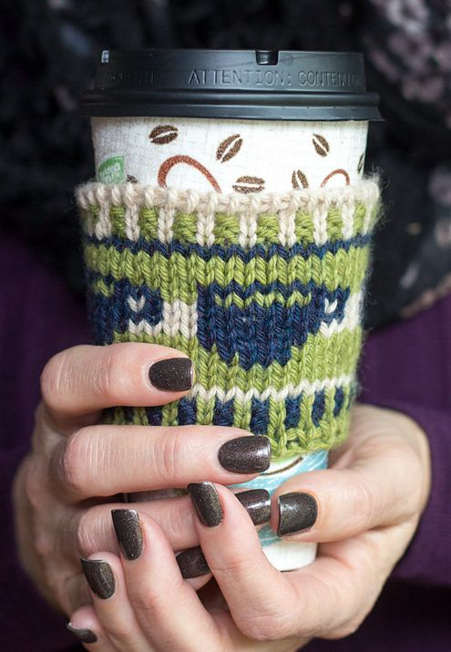 Free Knitting Pattern for Wake up and Smell the Coffee Cozy - Beverage cup cozy with coffee cup motifs in stranded colorwork. Designed byMrs Luedeke