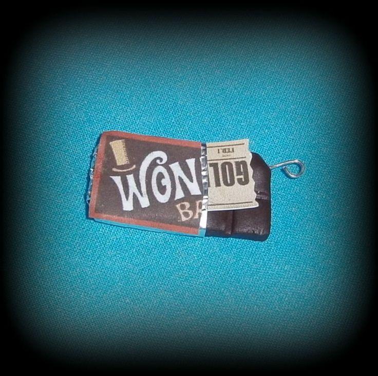 Fimo, Cioccolato Wonka, disponibile come orecchini, collana, portachiavi, braccialetto, anello