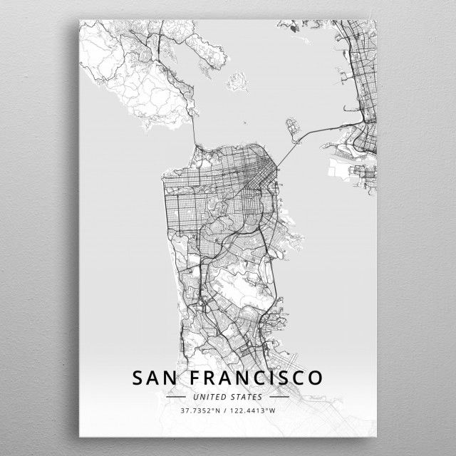 San Francisco, US Maps Poster Print   metal posters   Poster ...
