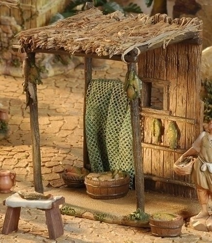 """$57.00-$0.00 For the Fontanini 5"""" Collection By Roman Inc. Item #55552 4-piece set Set includes fish market stand with 2 baskets of fish attached, a bench with fish, a basket of fish and a green net that drapes over Sculpted and hand-painted in a rich, old world style palette, by master, Italian artisans Actual Dimensions: 8.5""""H x 8""""W x 5""""D Material(s): Resin/Raffia Comes gift boxed."""