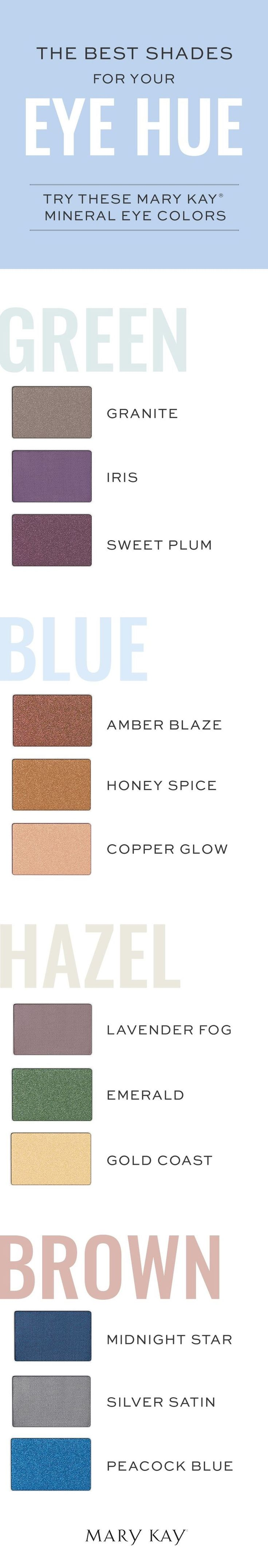 Love this colors!! I actually have brown eyes  and love using the blue color combination for my day time, and the hazel for cocktails and you? Let play with color? Message me ;) Leticia Ha 713-206-5858 or www. Marykay.com/Lvha
