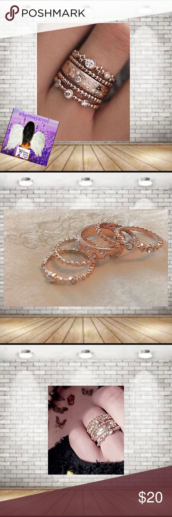 NEW Rose Gold Crystal Stackable Ring Set Size 7 Beautiful stacked crystal rings. Five individual rings. Wear together or separate. Comes in a little plastic Box.  Great for a Pollyanna Gift for The Holidays .Size 7.  Material: Alloy etc. Jewelry Rings