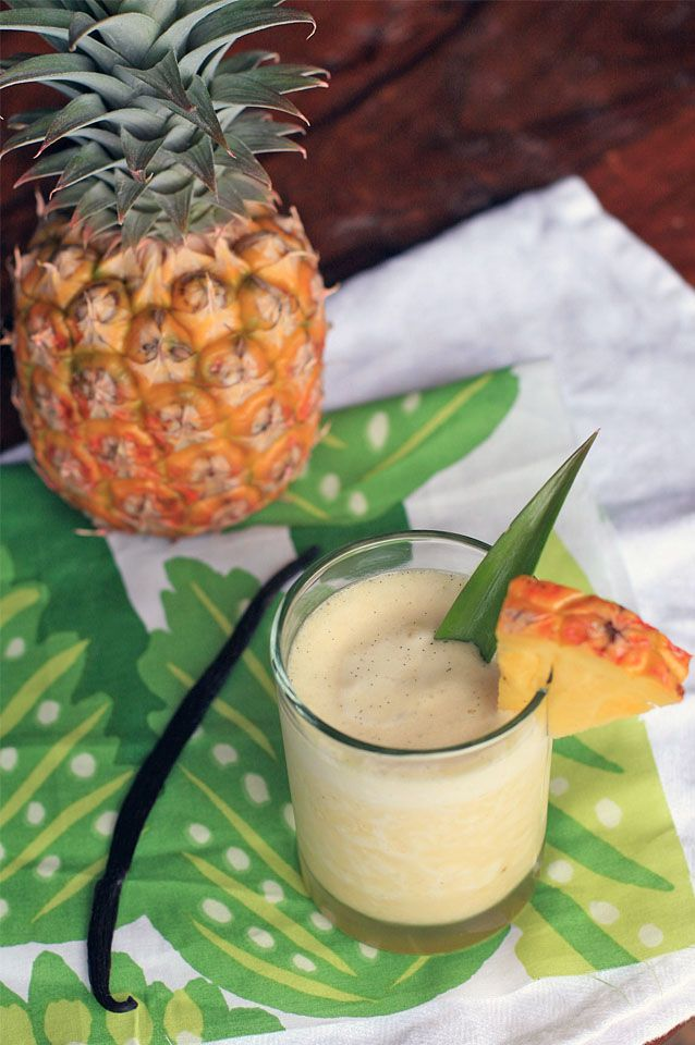 Mahana Cocktail. Fresh Pineapple, Vanilla Bean infused Vodka, and Triple Sec... sounds so summery and delicious.