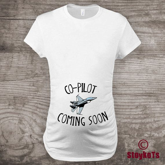 Baby Announcement shirt new baby co pilot t-shirt Jet by StoykoTs