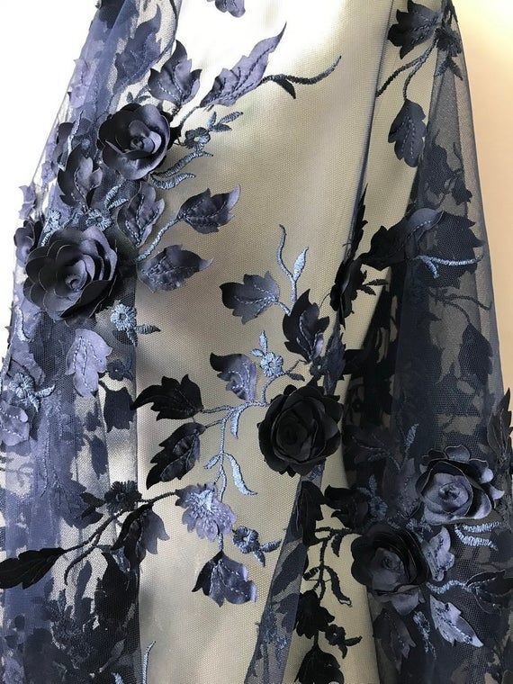 3d Rose Flower Fabric Navy Blue Lace Fabric Floral Leaf Lace Etsy Lace Fabric Wedding Fabric Blue Lace