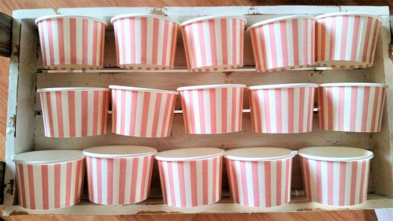 SALE  15 Pink striped paper cups/bowls  8oz/200ml ice-cream